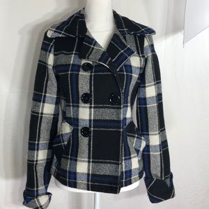 Body Central Wool Blend Plaid Jacket Size S   E124